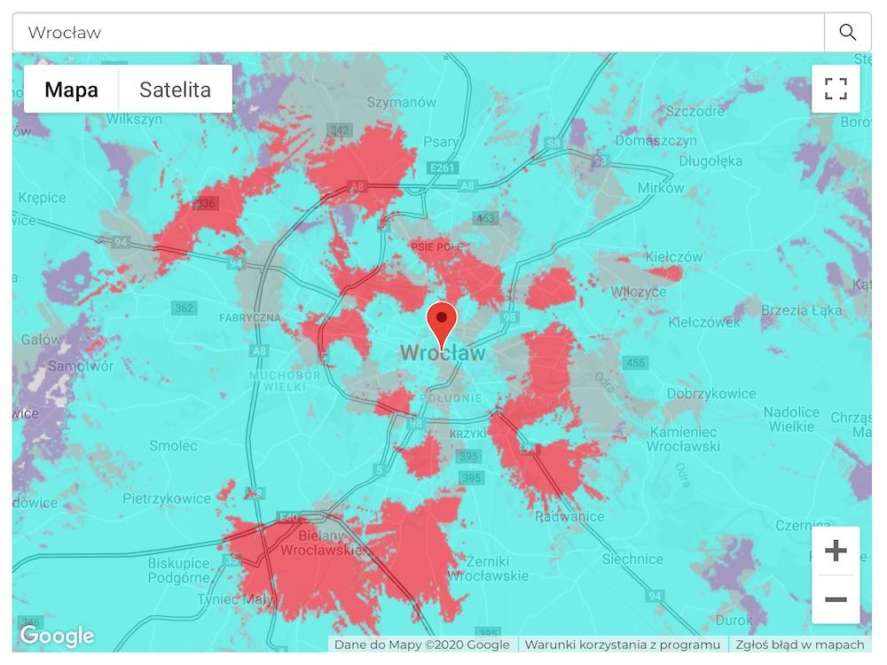 plus 5G mapa zasiegu 6 wroclaw