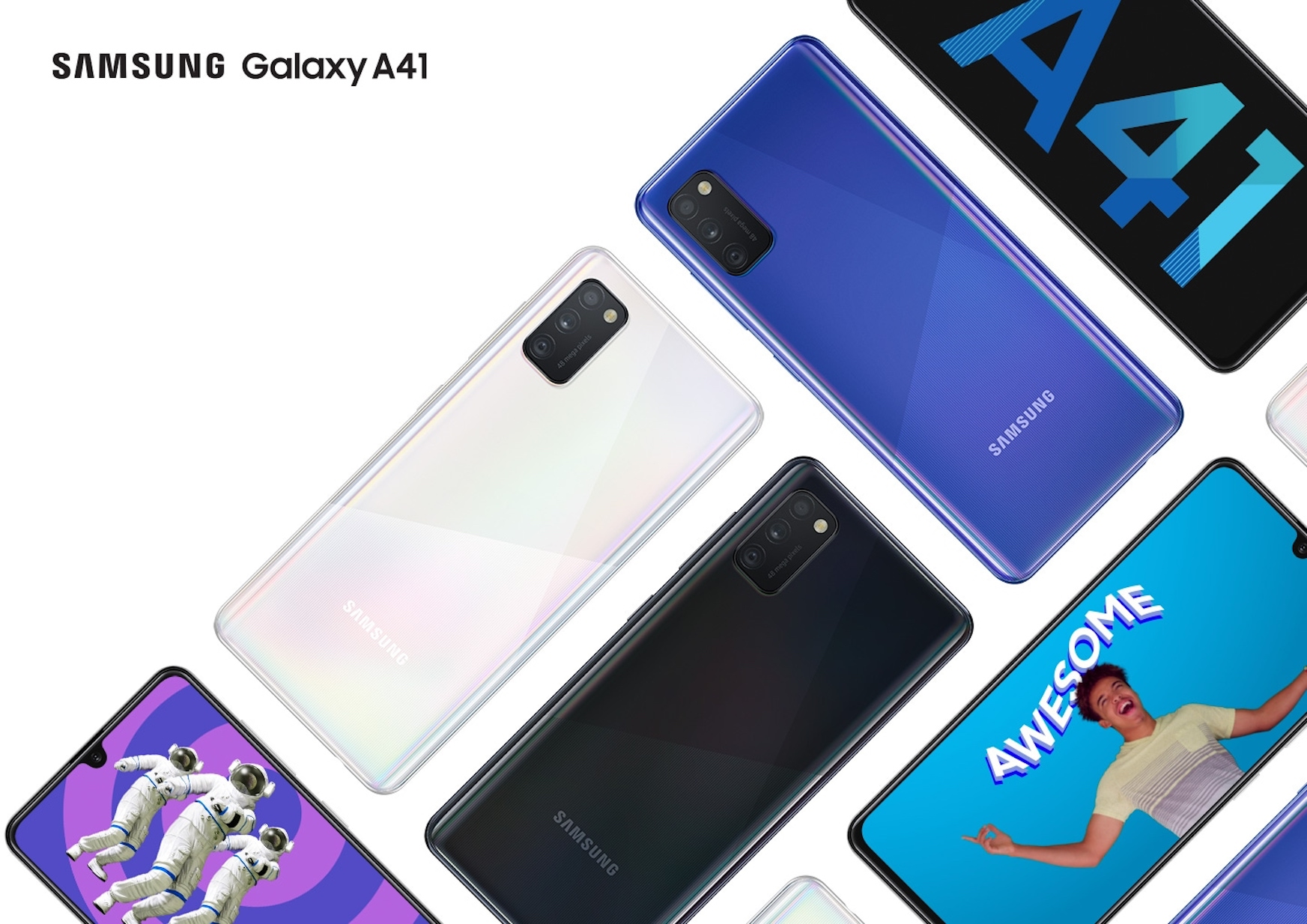 Samsung Galaxy A41, i.e. 2 SIM card slots, 3 lenses on the back ...