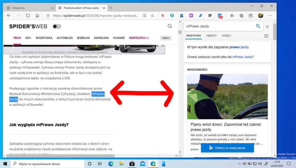 edge wyszukiwarka pasek boczny
