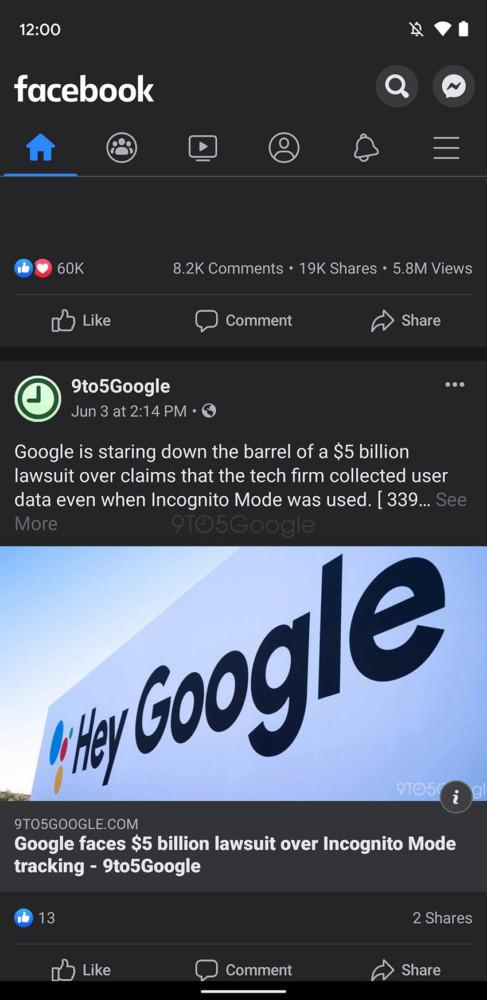 facebook ciemny motyw android