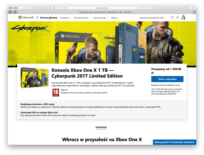 xbox one x cyberpunk 2077 edycja limitowana