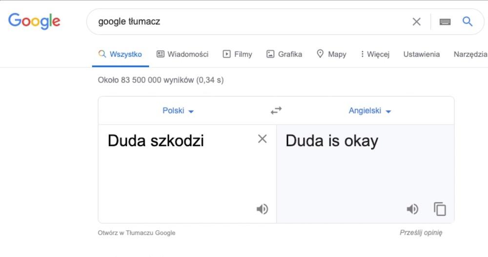 Google translate 3 duda szkodzi is ok