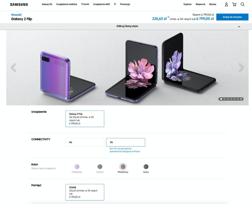 Samsung Galaxy Z Flip 5G polska cena