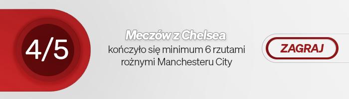 4 z 5 meczów przeciwko Chelsea kończyło się minimum 6 rzutami rożnymi Manchesteru City