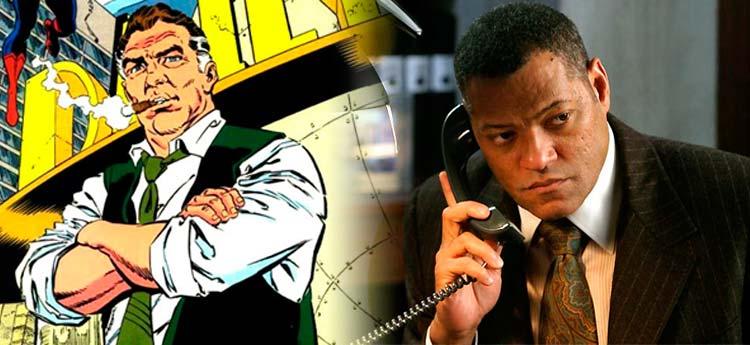 Po lewej Perry White w wersji komiksowej i wcielający się w niego Laurence Fishburne po prawej