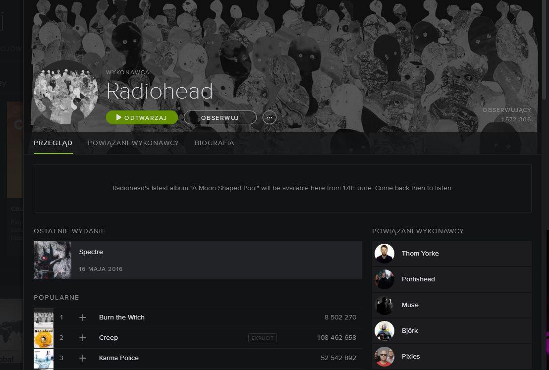 A jednak! Nowa płyta Radiohead będzie dostępna w Spotify