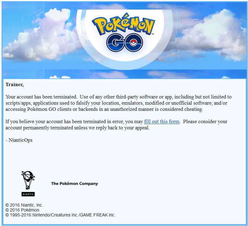 Pokemon GO ban