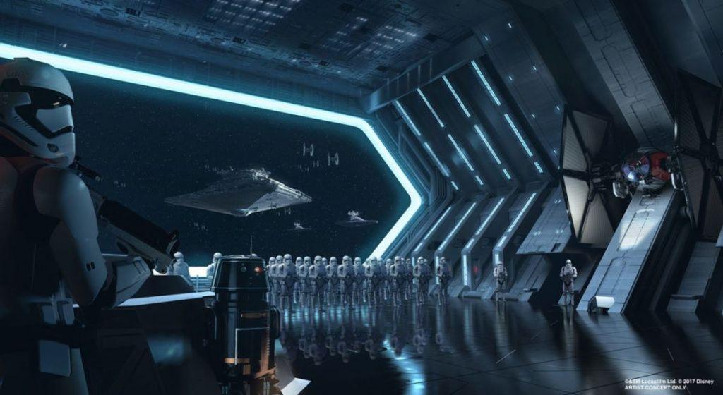 Projekt hangar Star Destroyera w kraine rozrywki Disneya, grafika: Disney/Lucasfilm