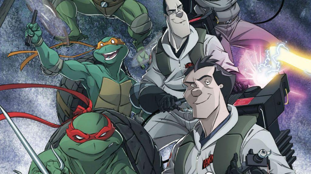 Kadr z komiksu, w którym spotkali się Pogromcy duchów i Wojownicze Żółwie Ninja