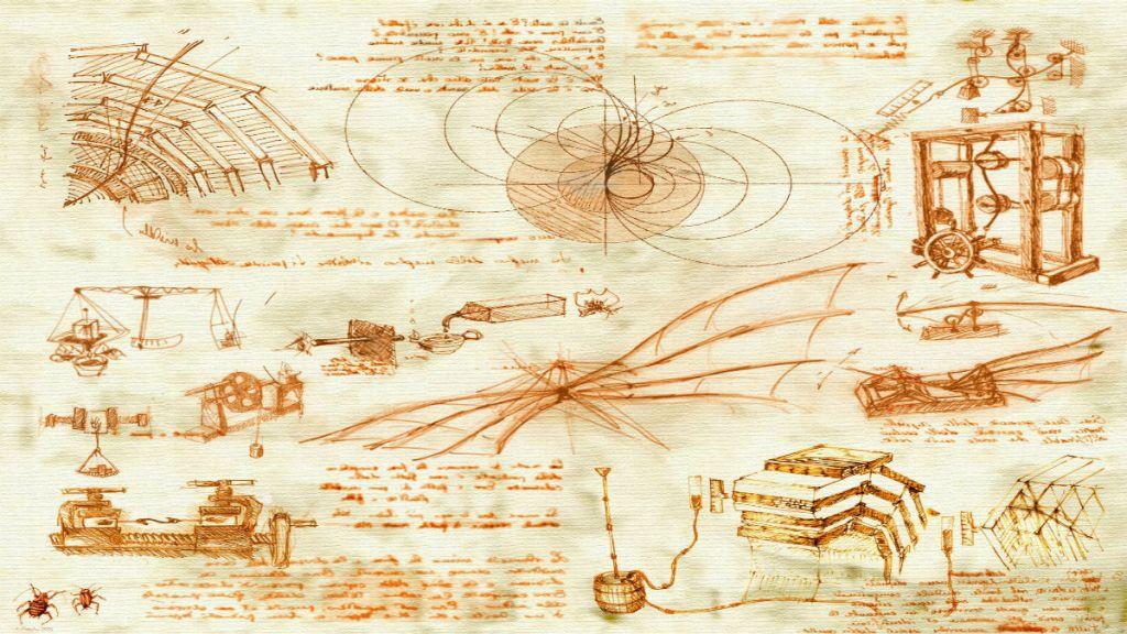 Szkic z pomysłami Leonarda da Vinci