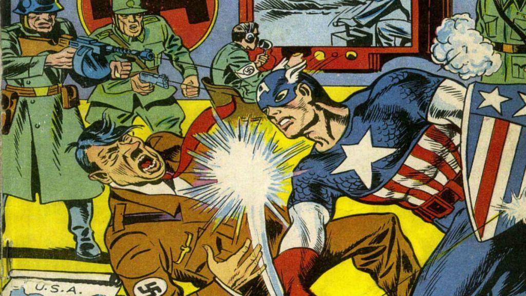 Kapitan Ameryka jednym ciosem powala Adolfa Hitlera - fragment okładki komiksu z lat 40.