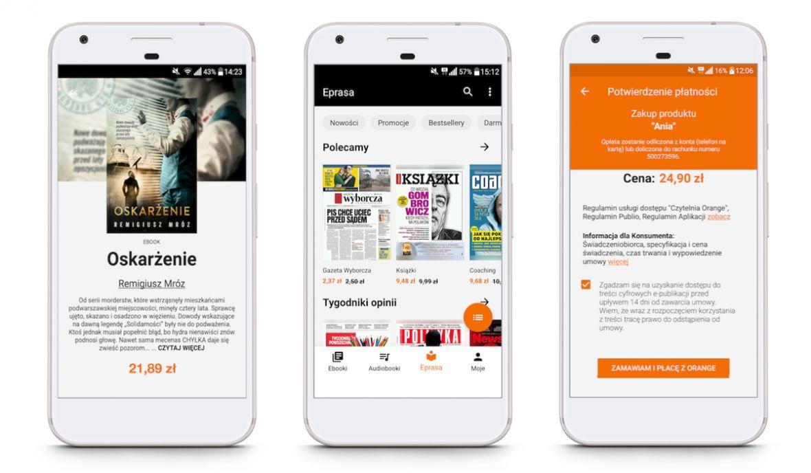 Startuje Czytelnia Orange. Za ebooki i cyfrową prasę zapłacisz pod koniec miesiąca razem z abonamentem