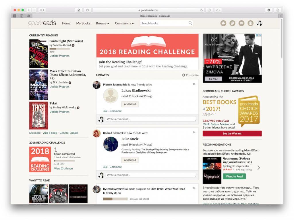 goodreads - aplikacje do śledzenia premier