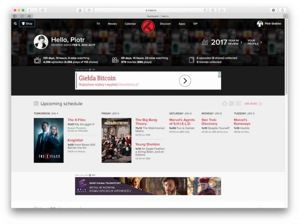 trakt.tv - aplikacje do śledzenia premier