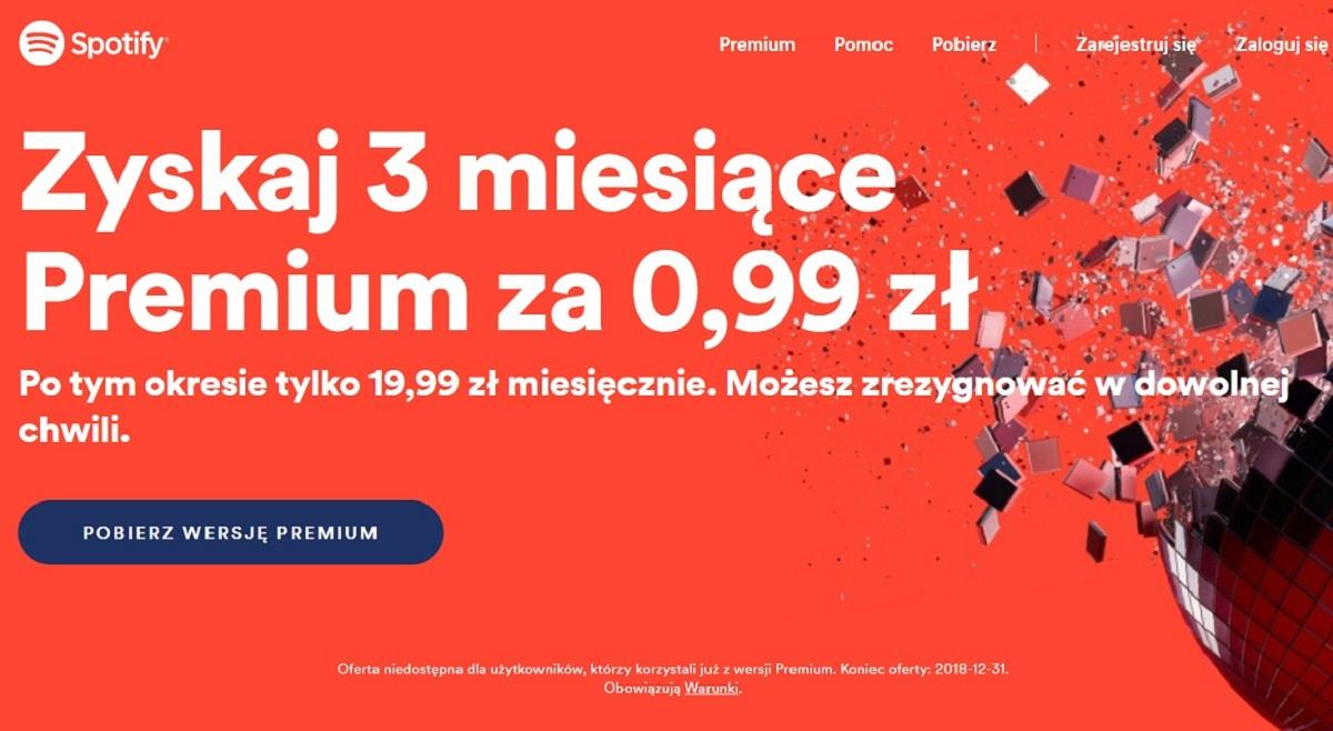 spotify premium za 99 groszy