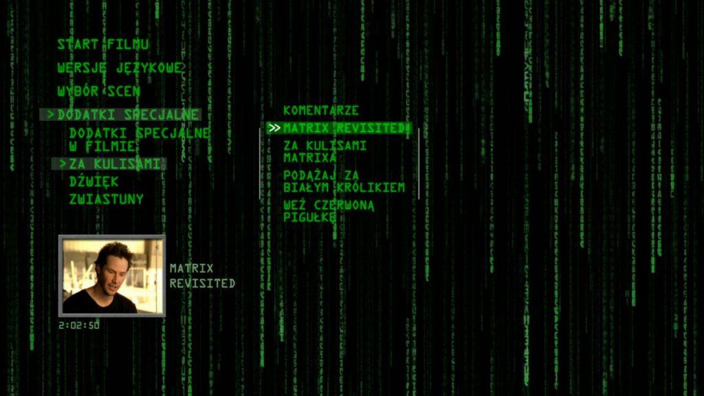 matrix dvd dodatki ekran