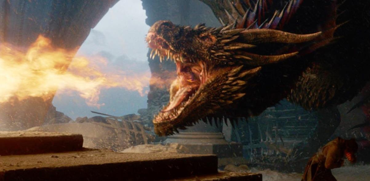 Drogon w sali tronowej, Gra o tron