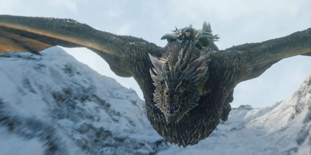 Jon Snow ujeżdżający Rhaegala