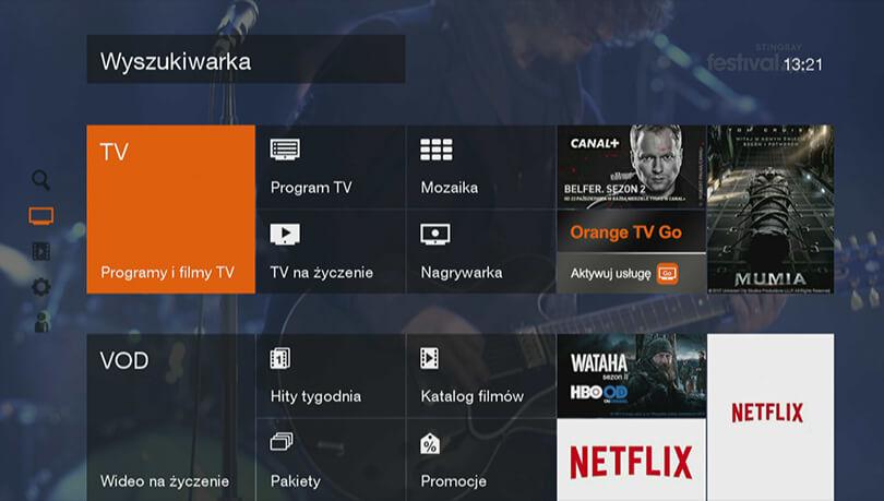 orange tv interfejs