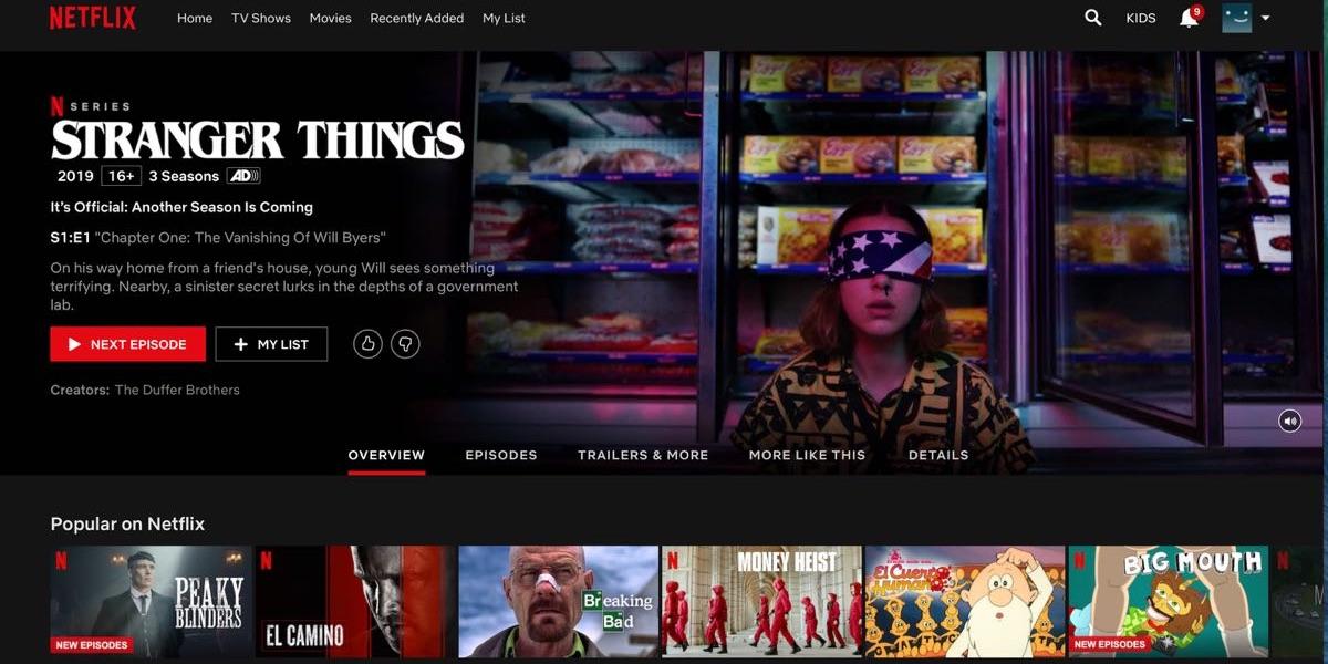 Netflix - menu tytułowe