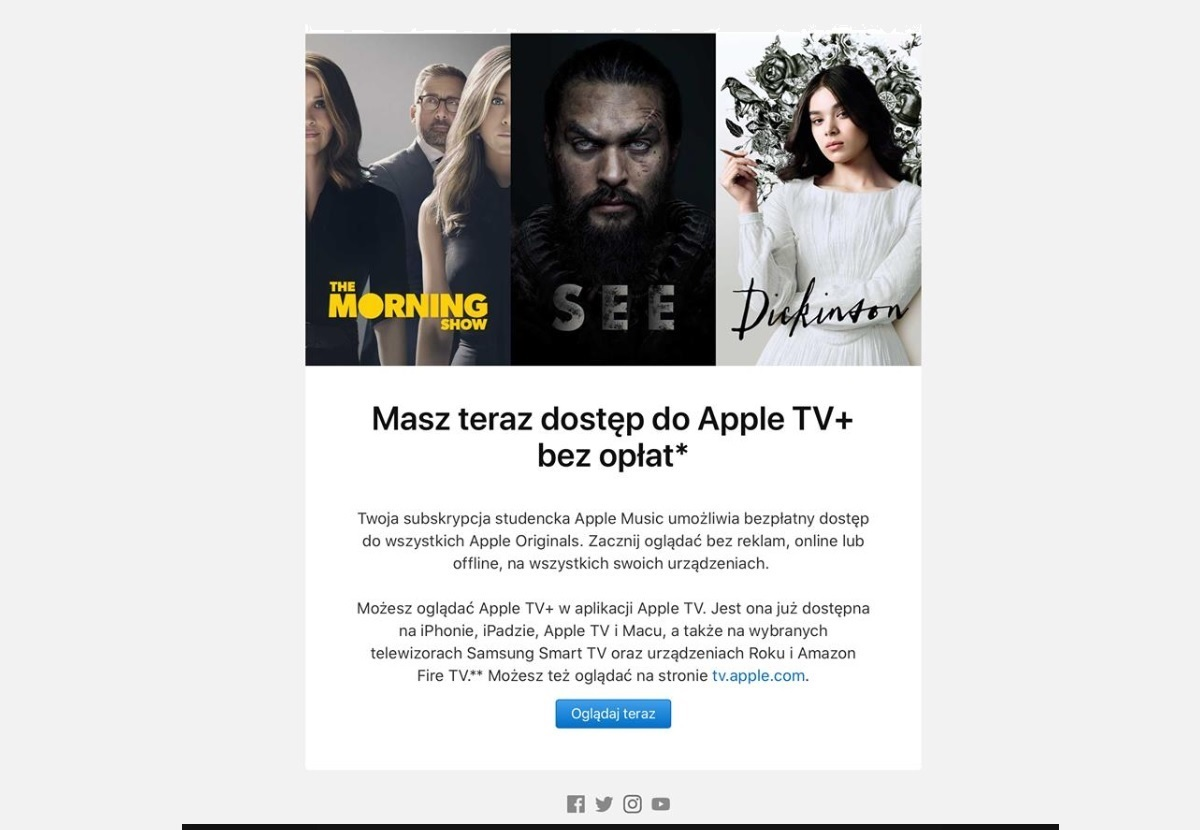apple tv plus za darmo