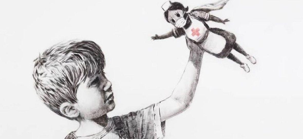 Banksy stworzył nowy mural nawiązujący do koronawirusa. Pielęgniarka jako superbohaterka