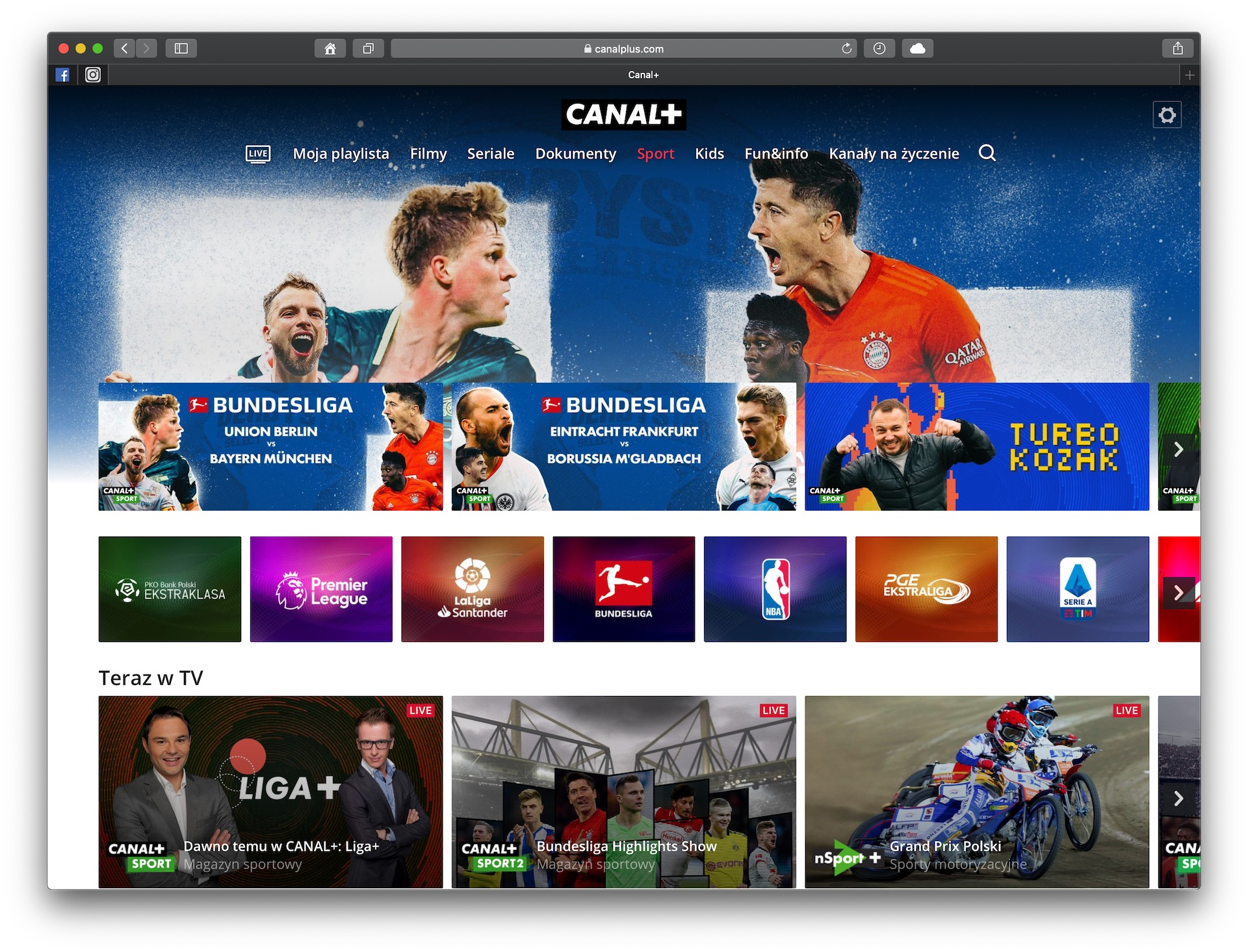 vod canal plus telewizja przez internet screenshot safari web