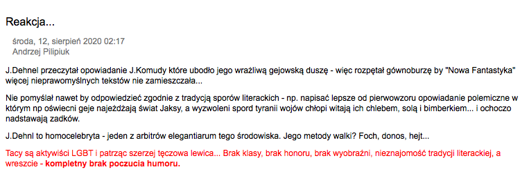 Notka z bloga Andrzeja Pilipiuka