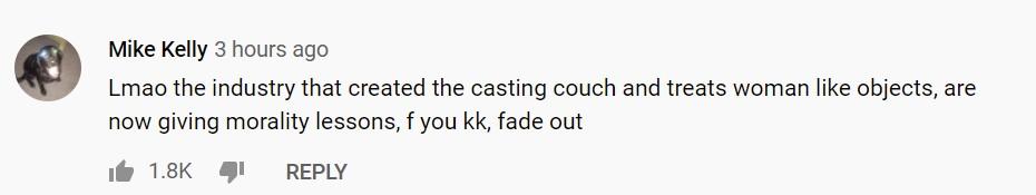 Komentarz na YT pod wideo Kathleen Kennedy