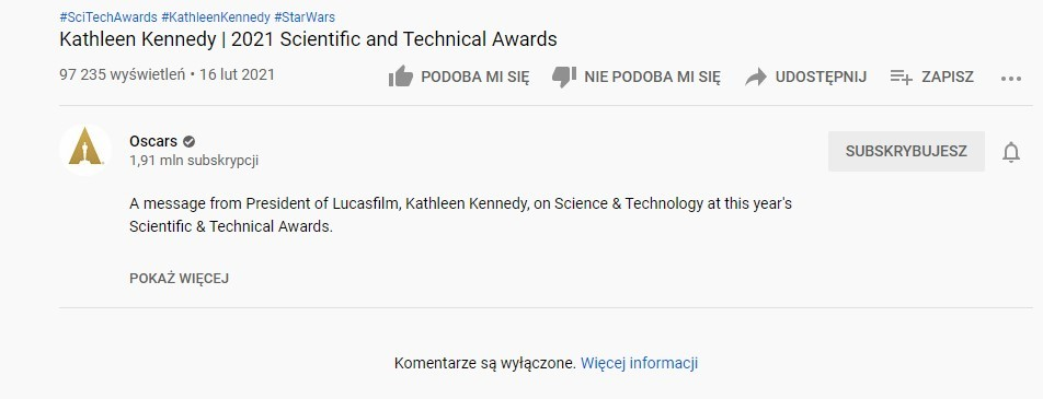 Kathleen Kennedy YouTube komentarze wylaczone
