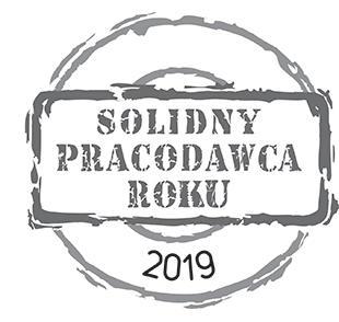 Solidny Pracodawca Roku 2019 – otrzymaliśmy wyróżnienie w kategorii ogólnopolskiej w 2019 r., przyznawane przedsiębiorstwom i instytucjom najrzetelniejszym pod względem polityki zatrudnieniowej, rozwiązań pracowniczych i zarządzania zasobami ludzkimi.