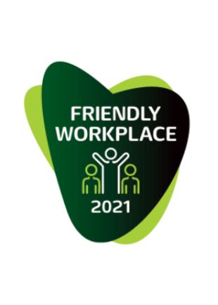 """Dzięki szerokiemu pakietowi benefitów, programów rozwojowych oraz działaniom związanym z przyjaznym dla zdrowia środowisku pracy otrzymaliśmy wyróżnienie oraz statuetkę """"Friendly Workplace 2021""""."""