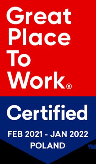 W lutym 2021 r. dołączyliśmy do prestiżowego grona najlepszych pracodawców z certyfikatem Great Place To Work!  To wyróżnienie przyznawane jest wyłącznie organizacjom o wysokim indeksie zaufania i satysfakcji pracowników.