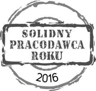 W 2016 roku, w uhonorowaniu kultury organizacyjnej oraz wysokich standardów pracowniczych otrzymaliśmy zaszczytny tytuł Solidnego Pracodawcy Roku!