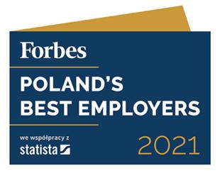 Drugie miejsce w rankingu Poland's Best Employers 2021 według magazynu Forbes