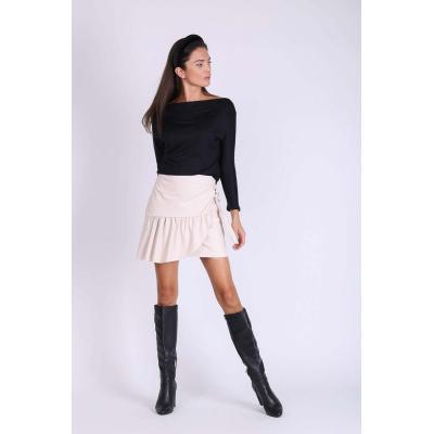 beżowa mini spódnica z nakładką i paskiem