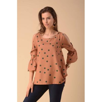 bluzka z rozcięciem na rękawach - kamelowa