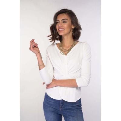 bluzka z eleganckimi detalami - ecru