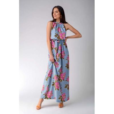 maxi sukienka w kwiaty z dekoltem typu halter