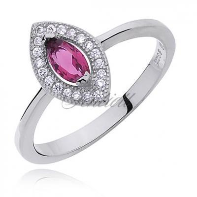 Srebrny pierścionek pr.925 cyrkonia biała i rubinowa