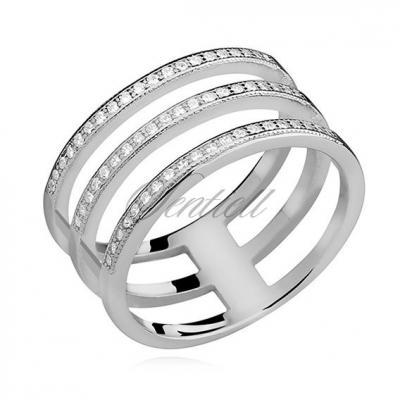 Srebrny, duży pierścionek pr.925 cyrkonia biała
