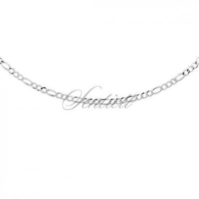Męski łańcuszek srebrny diamentowany figaro płaskie pr. 925 ø 060 rodowany