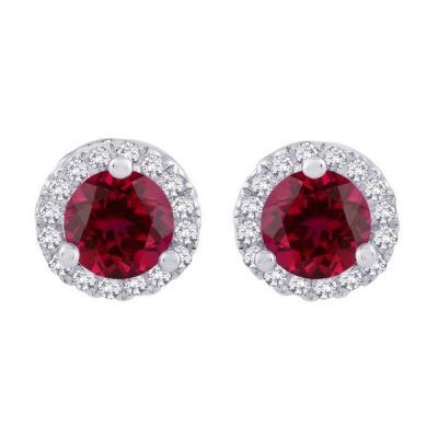 Staviori kolczyki. 32 diamenty, szlif brylantowy, masa 0,13 ct., barwa h, czystość si2. 2 rubiny, masa 0,40 ct.. białe złoto 0,585. szerokość 5,6 mm.