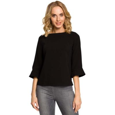 Czarna ciekawa bluzka damska z długim suwakiem