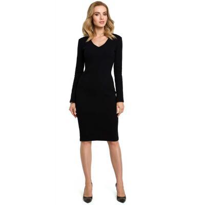 Czarna dopasowana sukienka z prążkowanej dzianiny z dekoltem v
