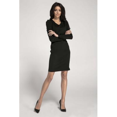 Czarna ołówkowa sukienka z marszczeniami na rękawach