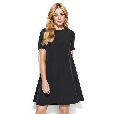 Czarna trapezowa sukienka z wydłużonym tyłem