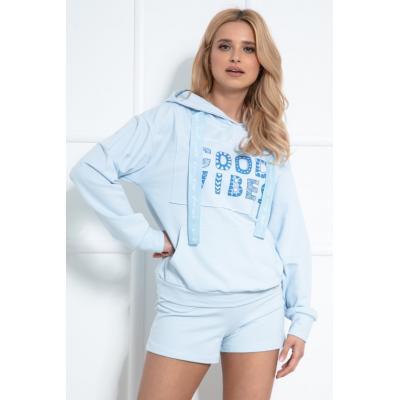 Komplet bluza kangurka + szorty - błękitny