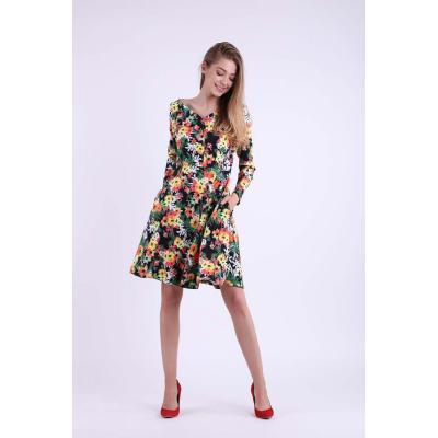 Kwiatowa rozkloszowana sukienka z dekoltem w kształcie litery v