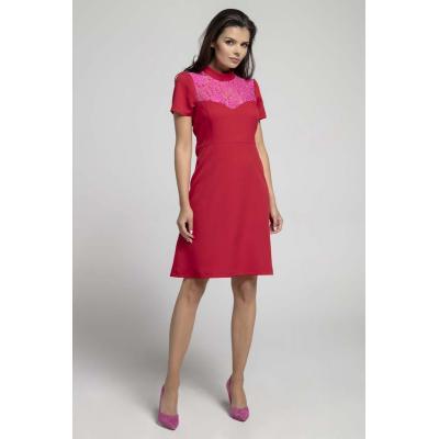 Wizytowa rozkloszowana sukienka z koronką - czerwona